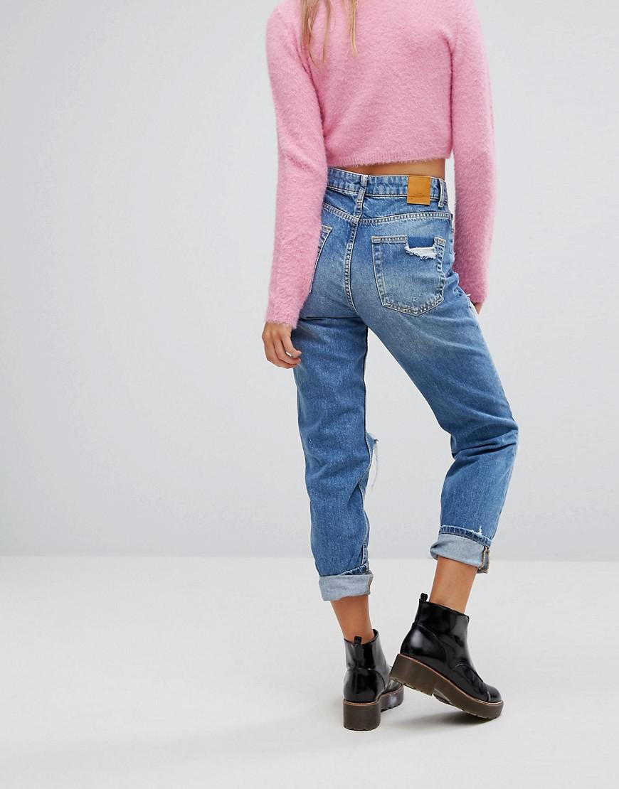 b4aab700bb Bershka Distressed Denim Boyfriend Jeans in Blue - Lyst