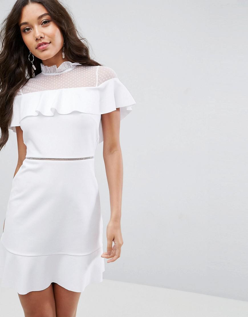 a9938040d0 ASOS Skater Dress With Dobby Mesh Panel in White - Lyst