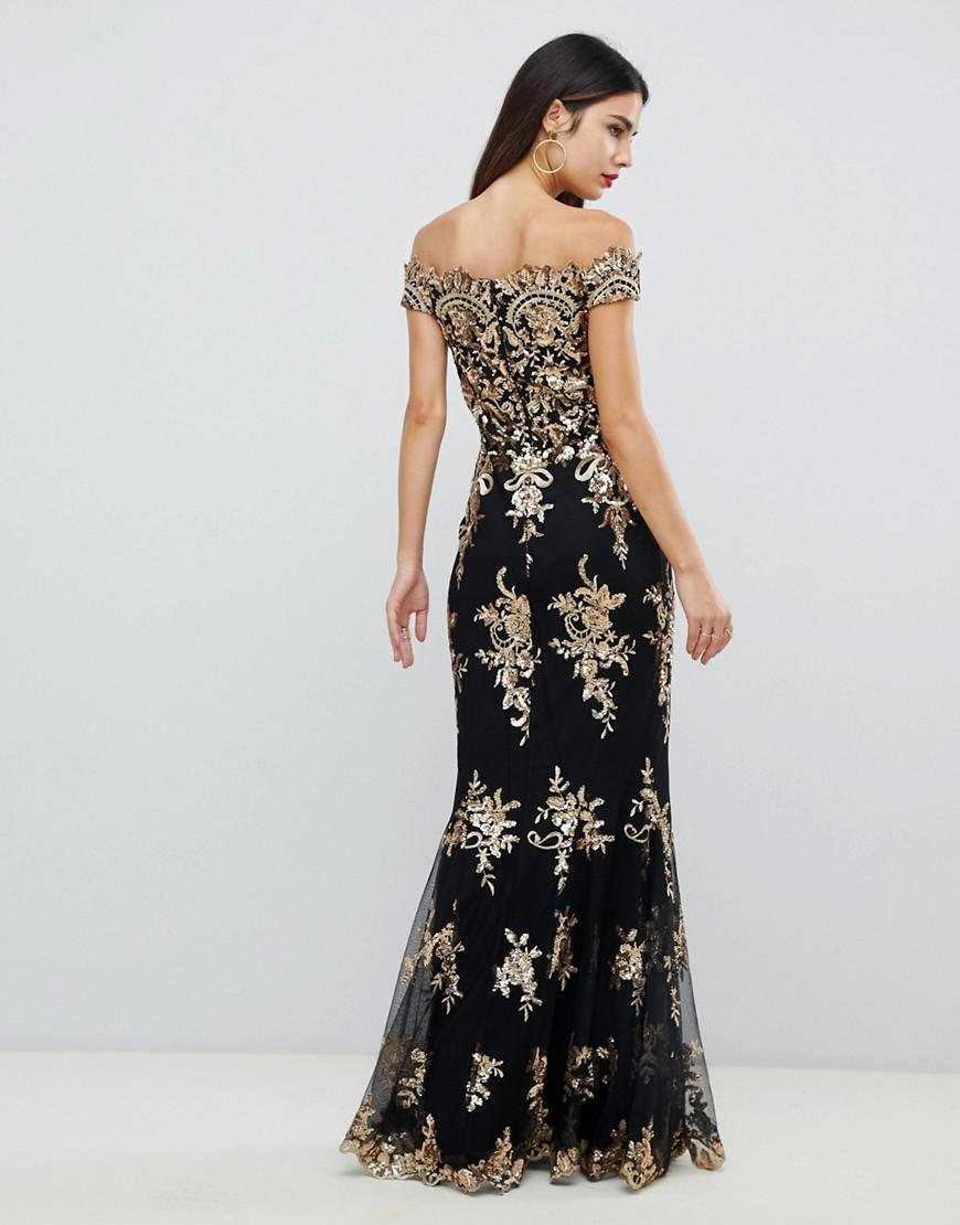 0b41541e4d1 Goddiva Off Shoulder Bardot Placement Lace Maxi Dress In Black And Gold in  Blue - Lyst
