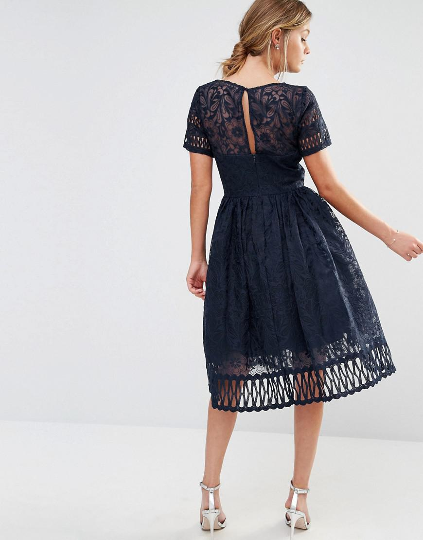 763cf685e8 Chi Chi London Premium Lace Dress With Cutwork Detail And Cap Sleeve In  Navy in Blue - Lyst