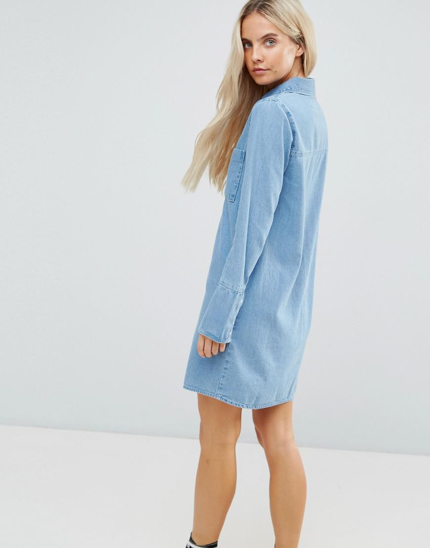 35bae5de7dd Lyst - ASOS Denim Shirt Dress With Deep Cuff Detail in Blue