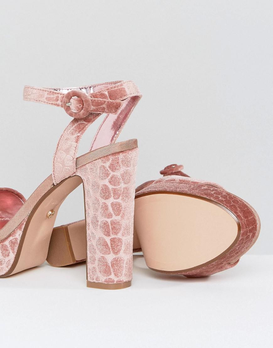 c505c730b38 Lyst - Dune Morisey Velvet Platform Heeled Sandals in Pink