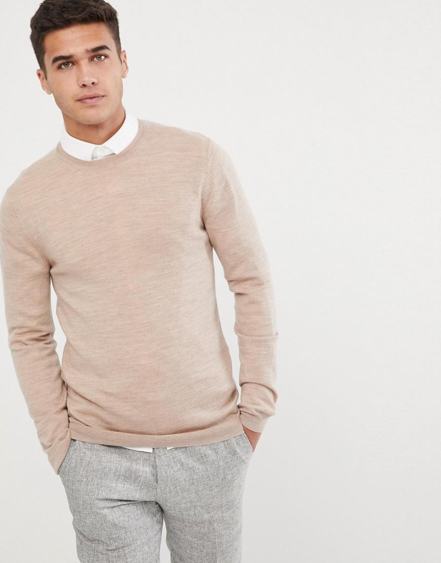 b2d14721 Lyst - ASOS Muscle Fit Merino Wool Sweater In Oatmeal in Natural for Men
