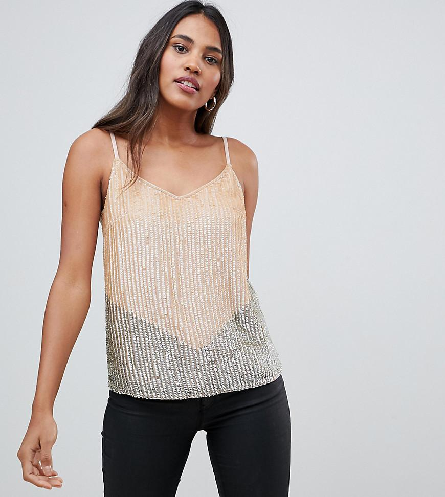 2f5988255a48 Oasis Sequin Cami Top With Chevron Detail In Nude - Lyst