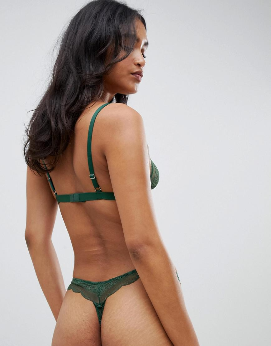 6ed81b31699 Lyst - ASOS Roxy Lace Thong in Green