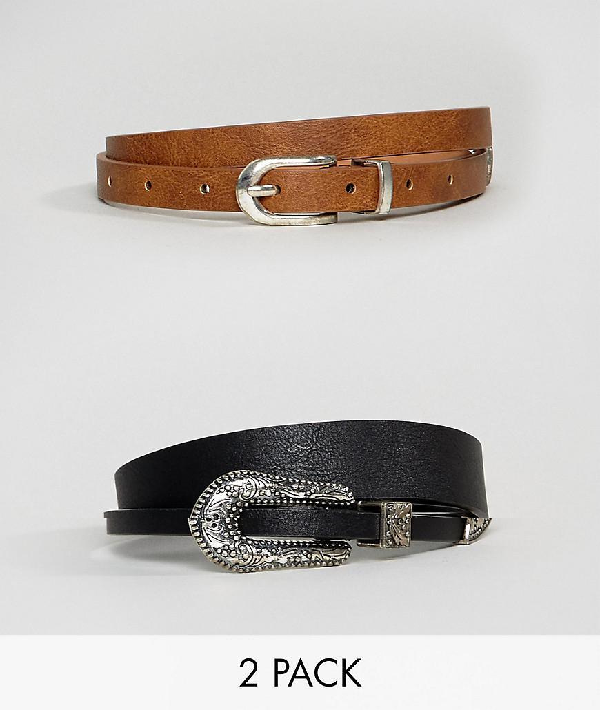 Lyst - Lot de 2 ceintures taille ou hanches style western ASOS da1e01a74b0