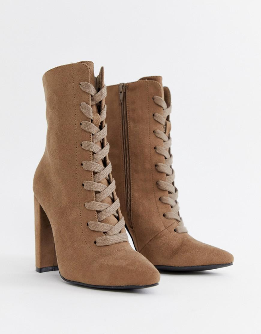 b0dd1fa2def Lyst - ASOS Elicia Lace Up Heeled Boots in Natural