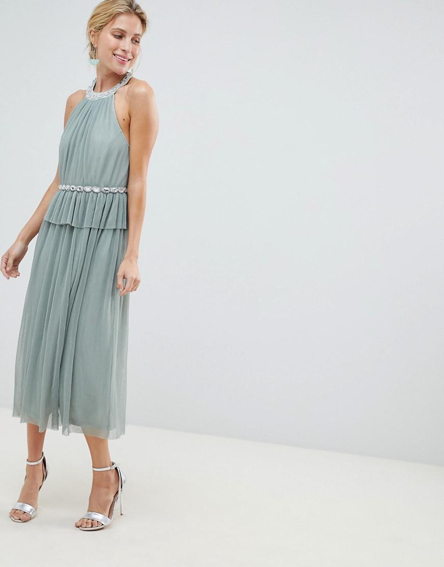 ce44da49680 Lyst - ASOS Embellished Neck Tulle Midi Dress in Green