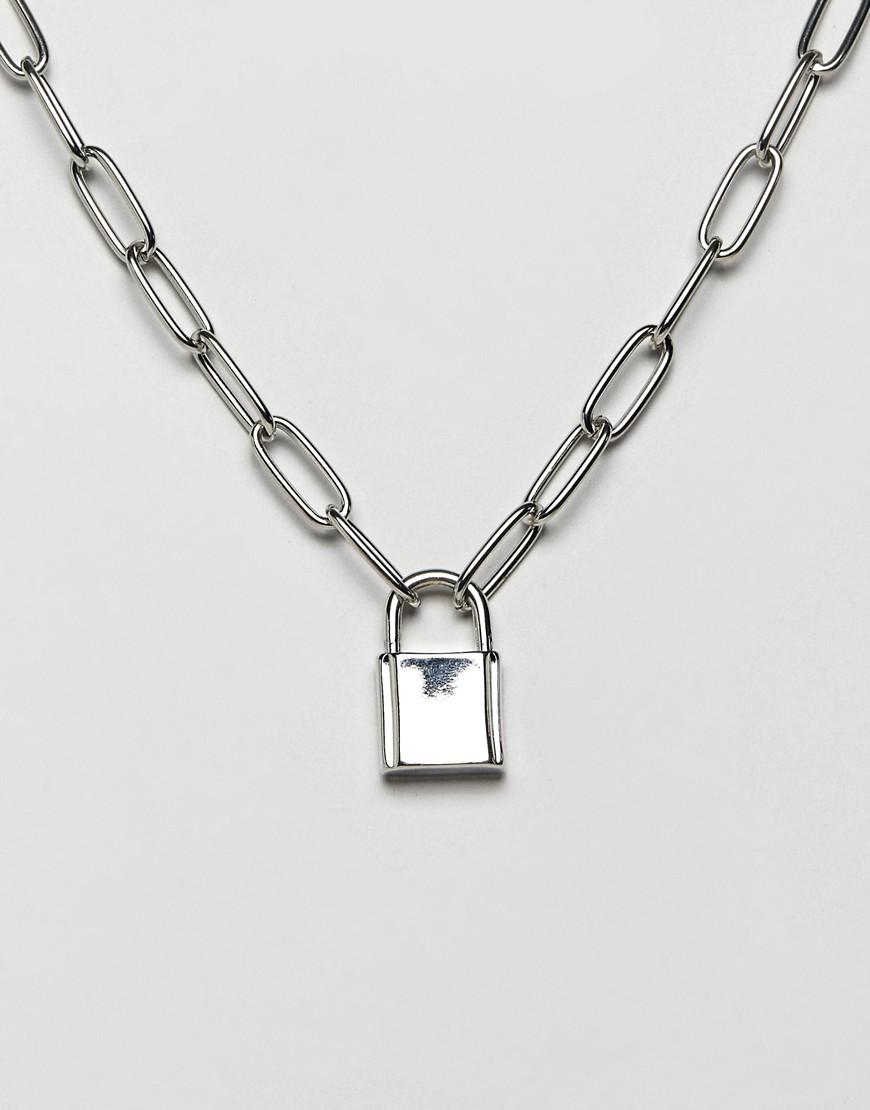 00c3dddfc370 ASOS. Women s Metallic Necklace With Hardware Chain And Padlock In Silver