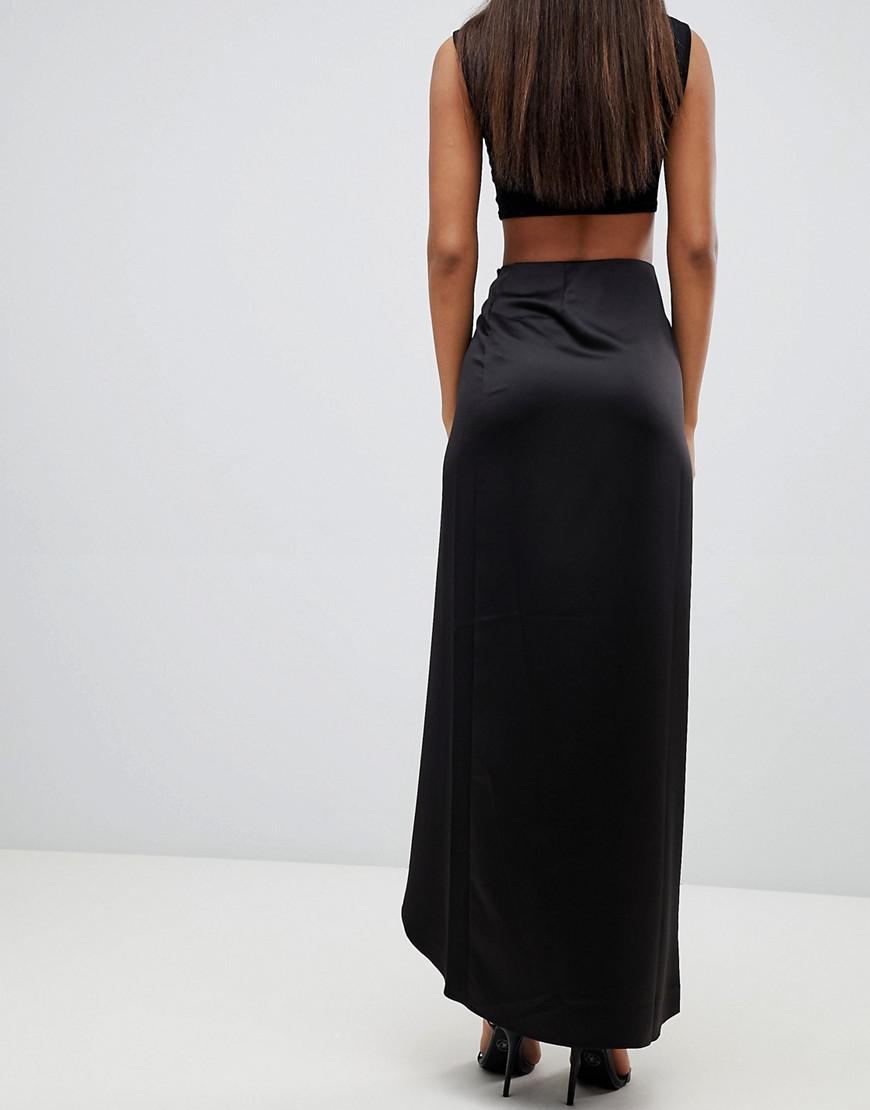 98e09584f5224 Lyst - ASOS Asos Design Tall Satin Wrap Maxi Skirt in Black