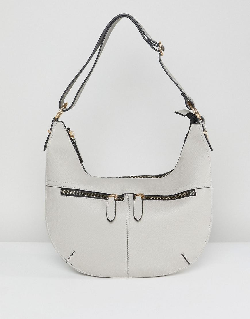 3c93b73c4c Yoki Fashion Zip Detail Slouch Shoulder Bag in Gray - Lyst