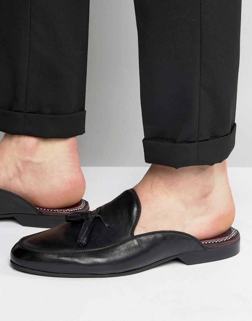 eff8896669d Lyst - House Of Hounds Backless Leather Loafers in Black for Men