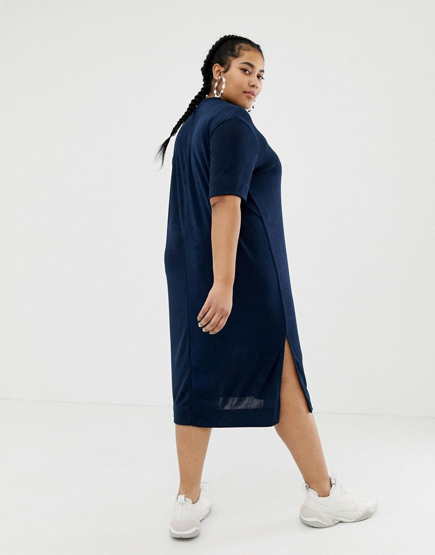 e6d1e135322 Collusion Plus Slinky Midi T-shirt Dress in Blue - Lyst