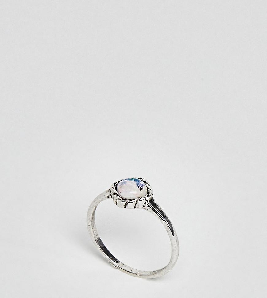Asos Mini Pear Shape Faux Opal Stone Pinky Ring - Silver