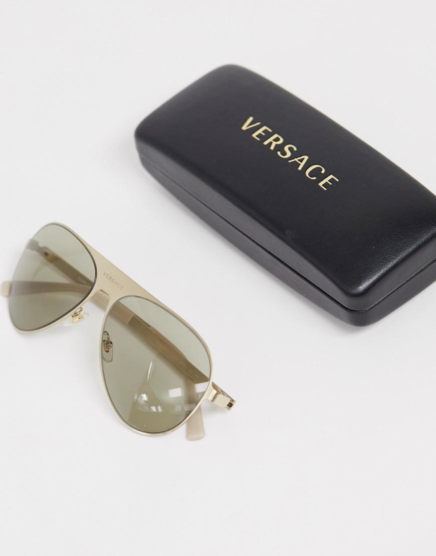 94dde02837de Versace 0ve2189 Aviator Sunglasses in Metallic for Men - Lyst