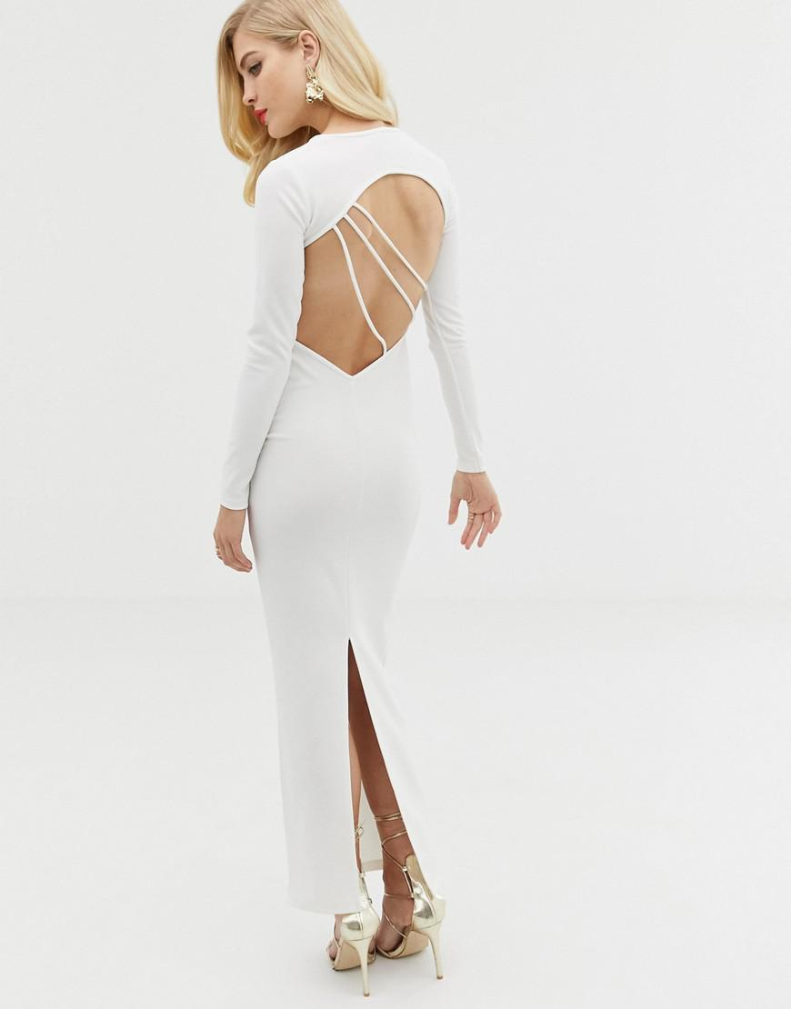 b3a6daea27d2 ASOS Long Sleeve Strappy Back Maxi Dress in White - Lyst
