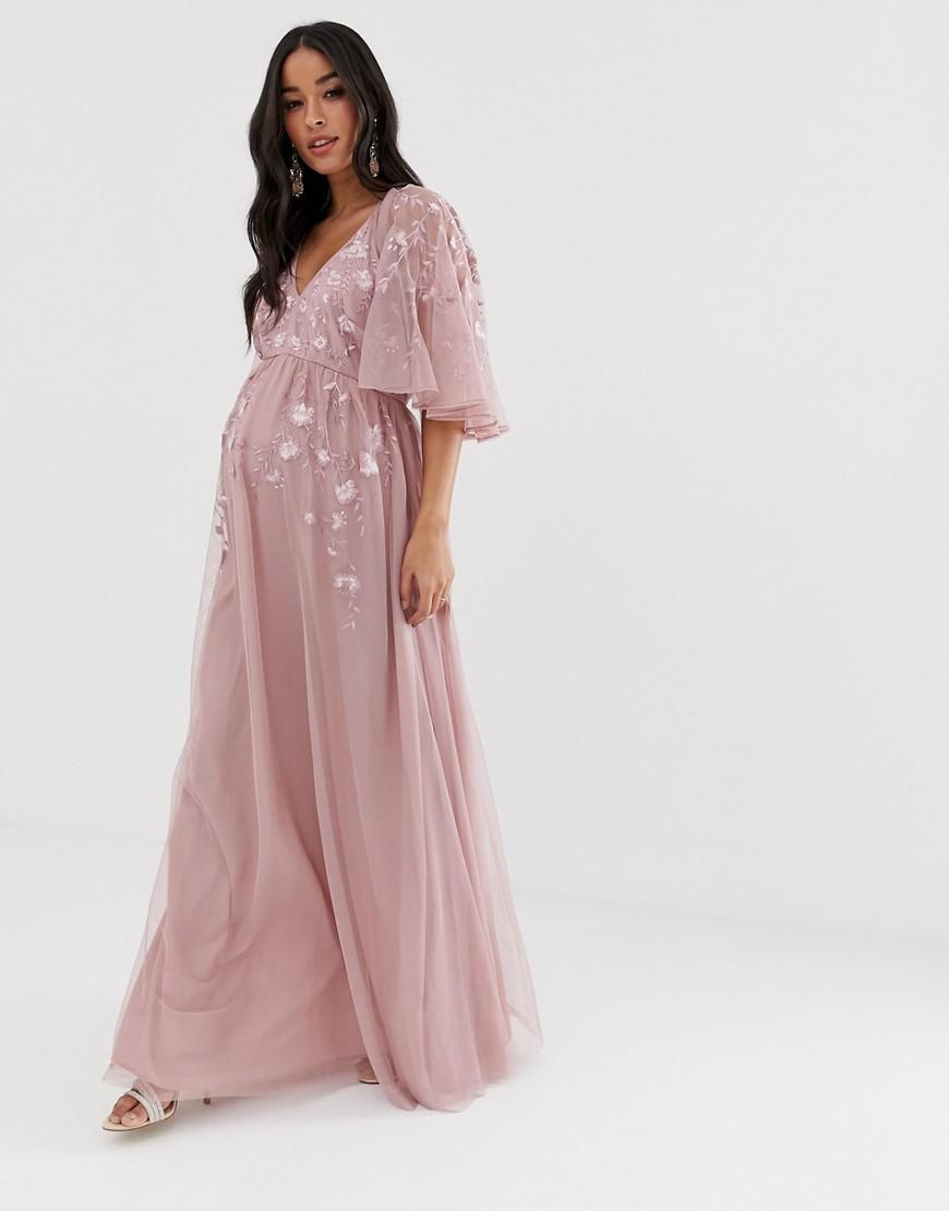 cc965338a782d ASOS - Pink Maternity Flutter Sleeve Maxi Dress In Embroidered Mesh - Lyst.  View fullscreen