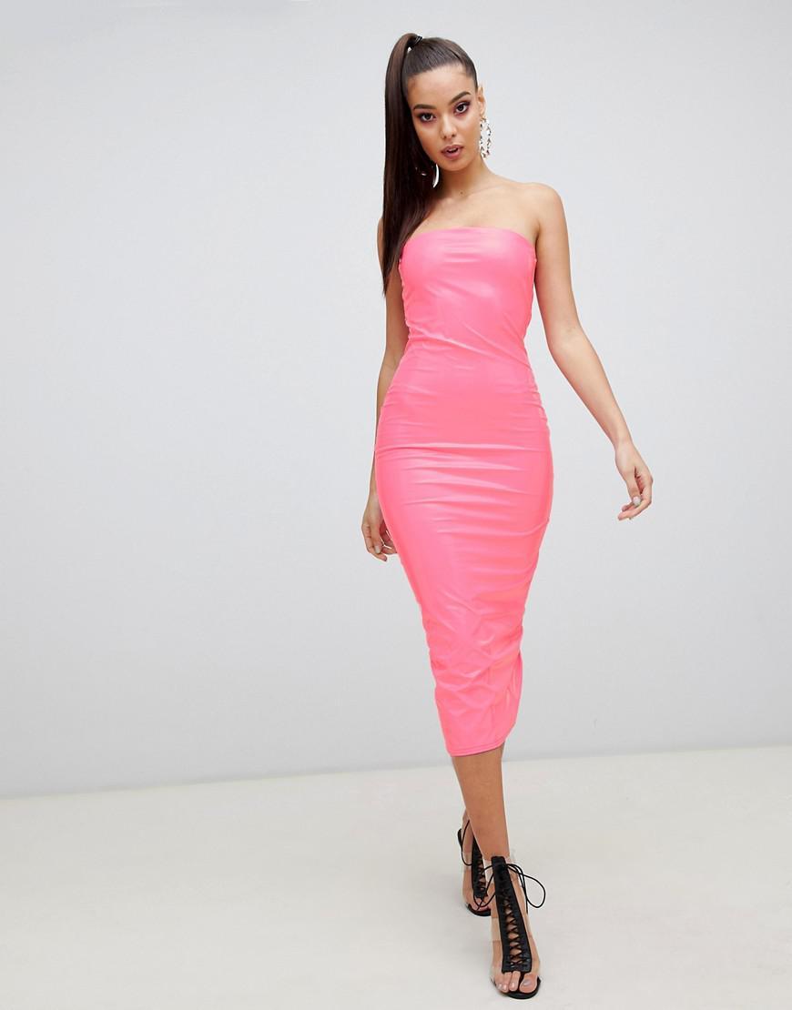 96356127297b ASOS Pu Bandeau Bodycon Midi Dress in Pink - Lyst