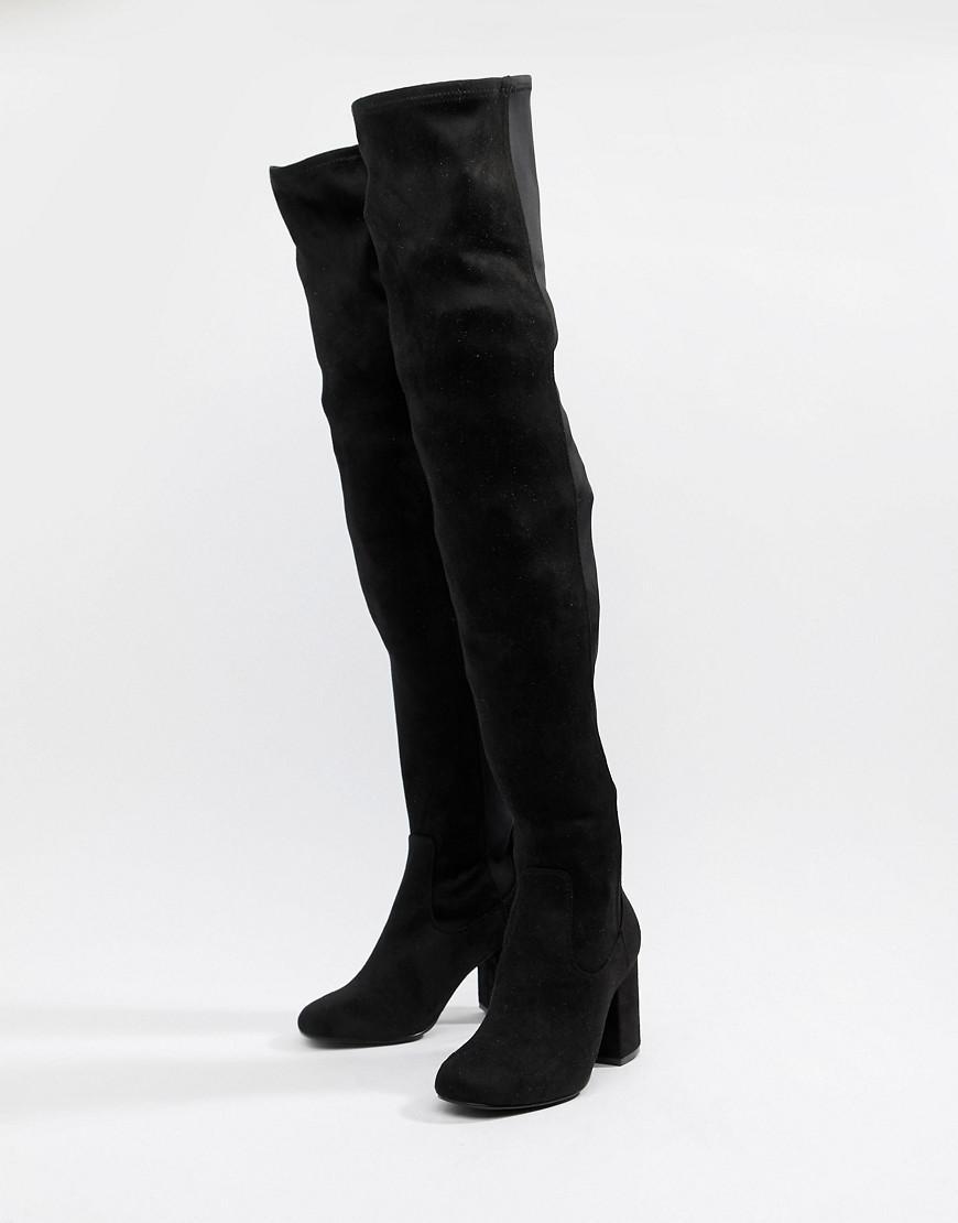 db2d65ae653 Lyst - ASOS Asos Design Petite Kadi Heeled Thigh High Boots in Black - Save  42%