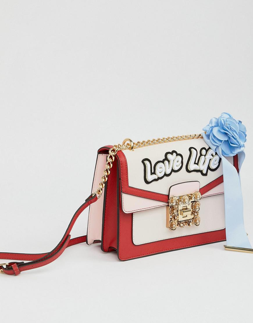 6954ec6803b ALDO Top Handle Cross Body Bag With Love Life Embroidery in Red - Lyst