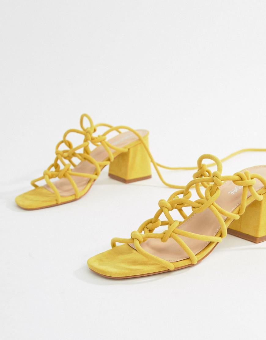 858f6baeea6 Public Desire Freya Yellow Mid Block Heeled Sandals in Yellow - Lyst