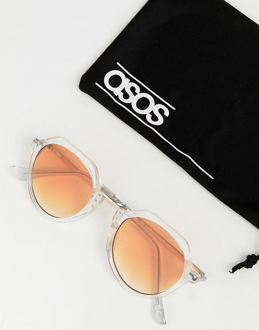 1d09b5ee9f20cf Lyst - Lunettes de soleil rondes en cristal avec verres dgrads orange Asos  pour homme en coloris Blanc