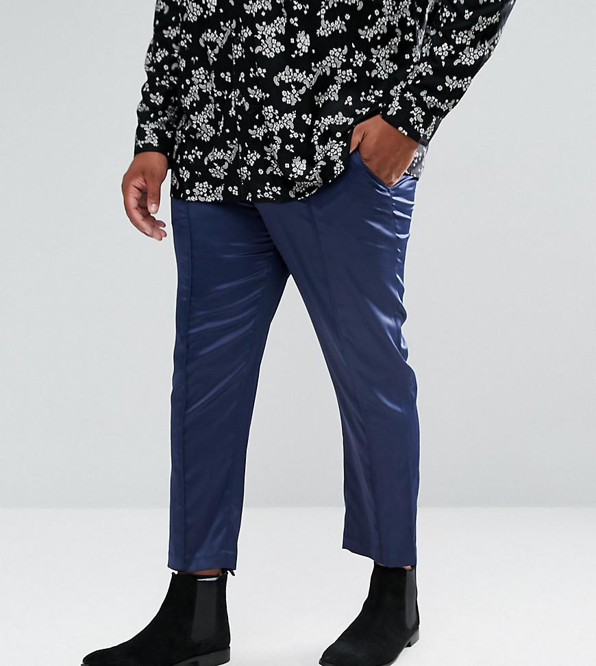 Skinny Crop Smart Trousers In Navy Sateen With Piping - Navy Asos xjwTf0uPXA