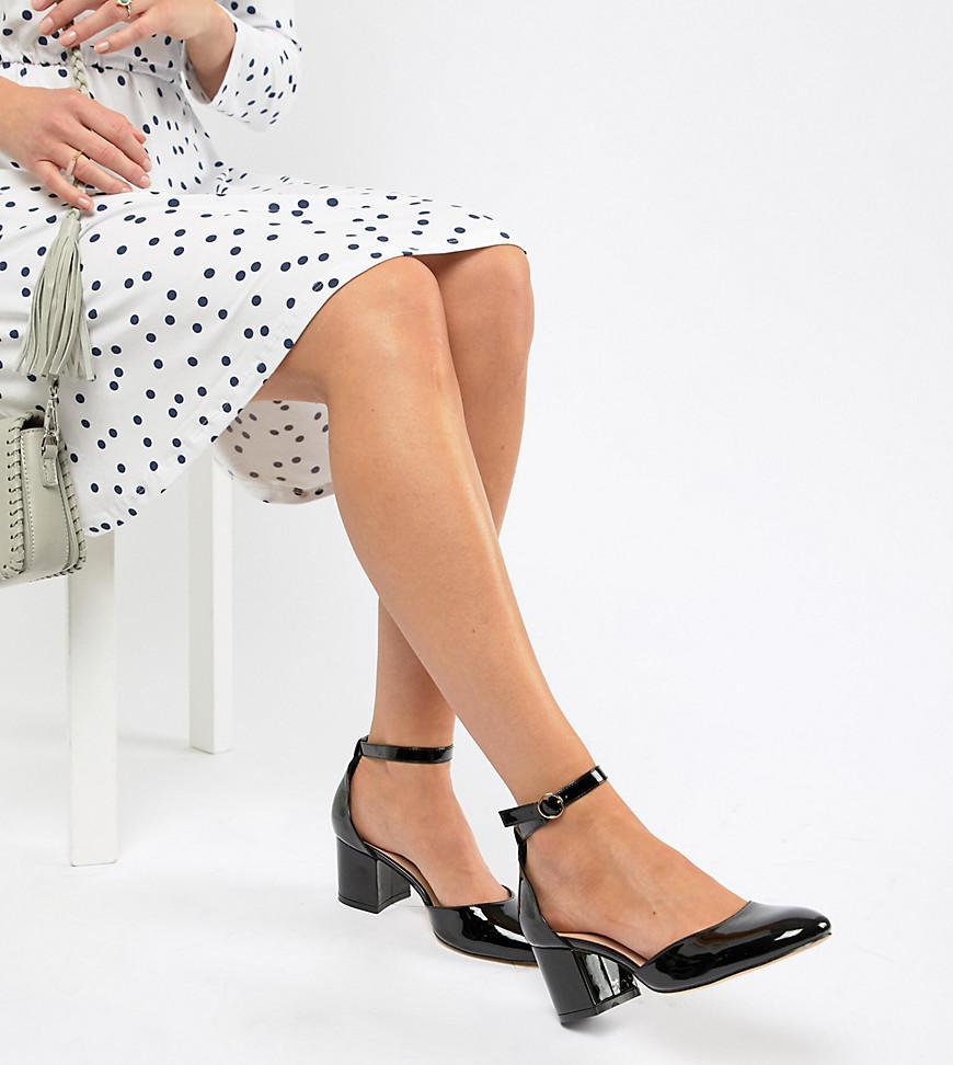 e52d9c9368a9 London Rebel Wide Fit Mid Block Heels in Black - Lyst
