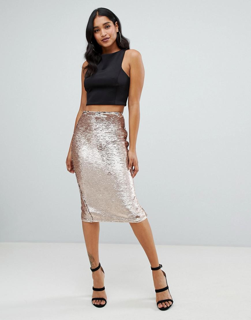 2e96334d51c0 Lyst - Lipsy Sequin Embellished Midi Skirt In Gold in Metallic