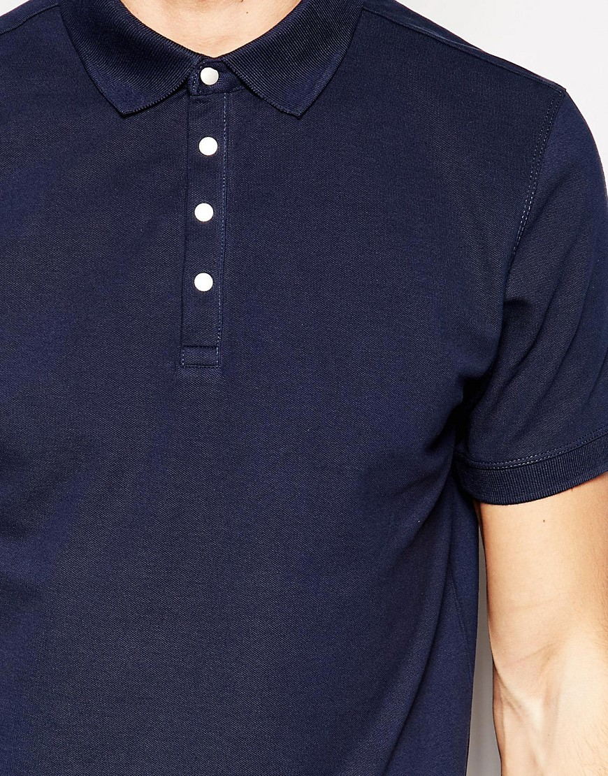 Selected Polo Shirt With Snaps In Blue For Men Lyst