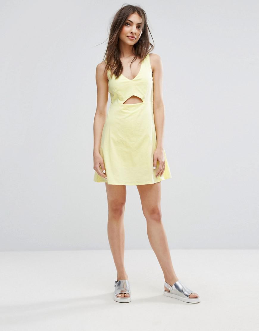 Cut Out Detail Dress - Yellow Mango Free Shipping Finishline ieAtsIM