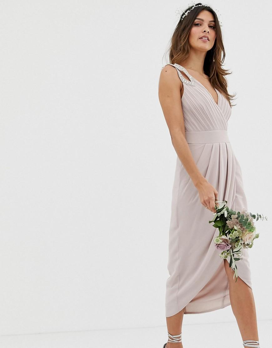 0494672284a Lyst - TFNC London Bridesmaid Exclusive Wrap Midi Dress In Taupe in ...