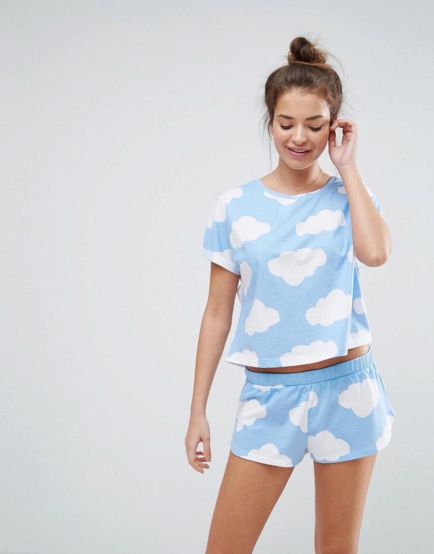 648b3549b Lyst - ASOS Cloud Print Tee   Short Pyjama Set in Blue