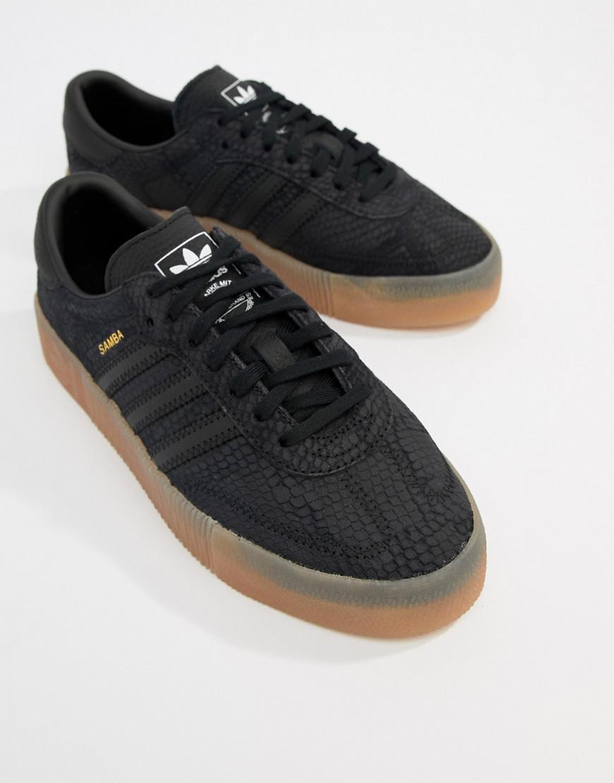 1a55ca250d0 adidas Originals Samba Rose Sneakers In Black With Gum Sole in Black ...