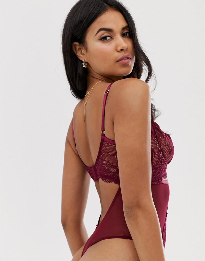 a3fe15e7a21fbf ASOS Asos Design Sabella Cut Out Lace   Mesh Underwire Bodysuit in Red -  Lyst