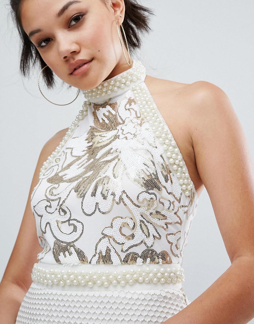 f22d6939facdb PrettyLittleThing Premium Halterneck Sequin Tassel Bodycon Dress in ...