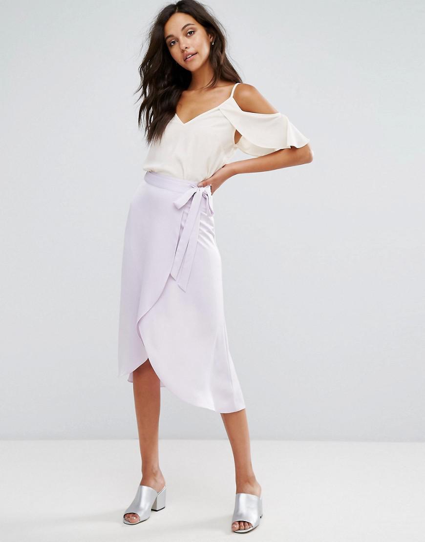 16f070a4f0 Lyst - Miss Selfridge Wrap Midi Skirt
