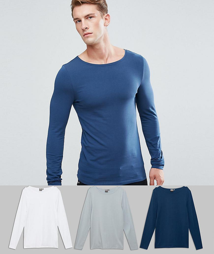ASOS. Men's Blue Extreme Muscle Fit Long Sleeve T-shirt With Boat Neck 3  Pack Save