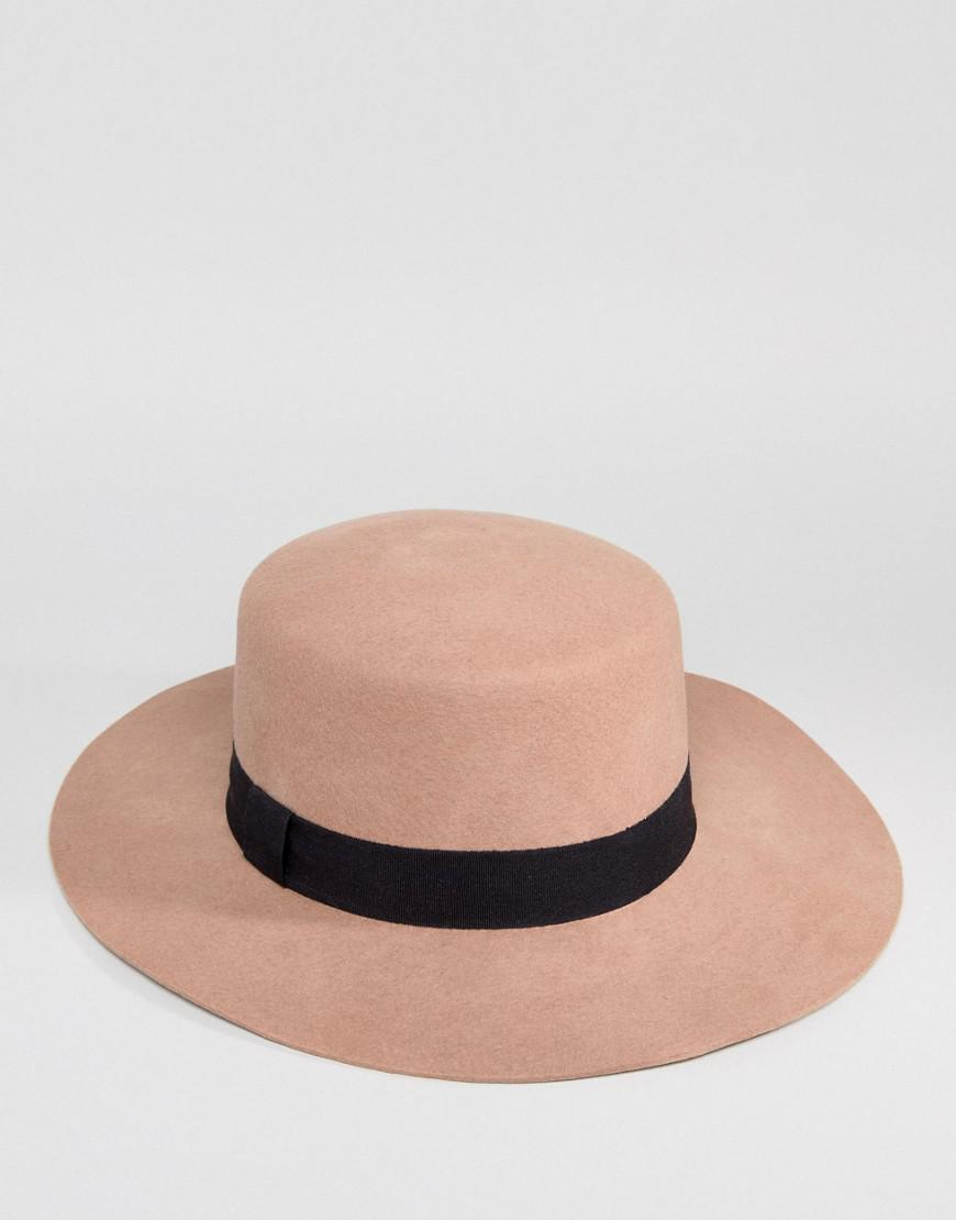 2b6d9c9e69225 Lyst - ASOS Felt Boater Hat In Light Camel With Size Adjuster in Brown