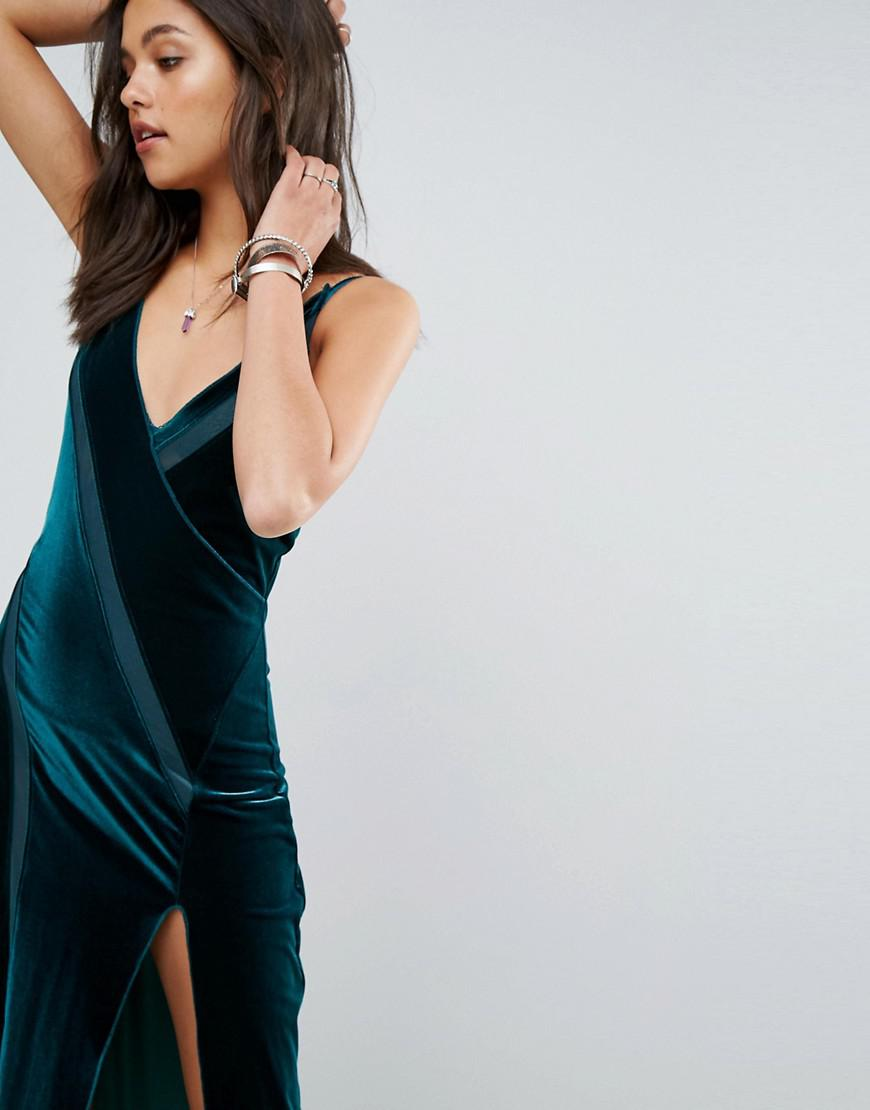 Spliced Velvet High Split Maxi Dress - Green Free People e1iV2
