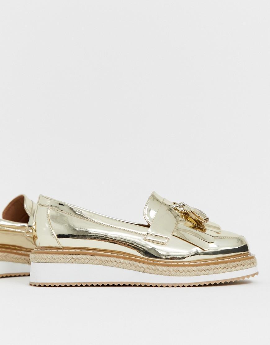 da289fba4d0 Lyst - ASOS Merit Loafer Flat Shoes in Metallic
