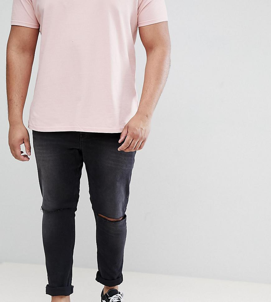 Free Shipping Enjoy Shopping Online Clearance DESIGN Plus Super Skinny 12.5Oz Jeans With Knee Rips In Washed Black - Black Asos Wholesale Quality Buy For Sale t9eQC