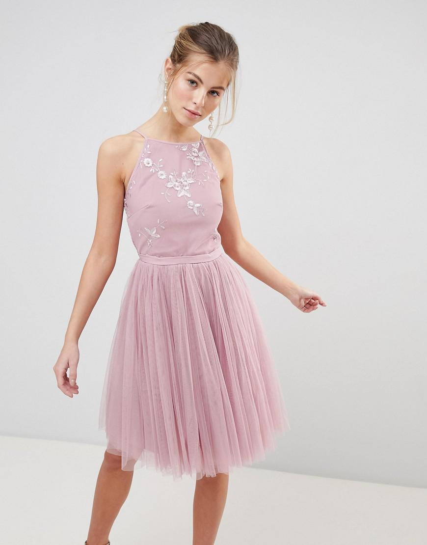 e816d3d66f Lyst - Little Mistress Tulle Skirt Skater Dress in Pink
