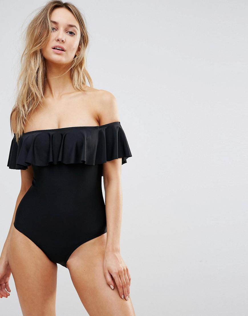f77a7726c9d New Look Bardot Bikini Swimsuit in Black - Lyst