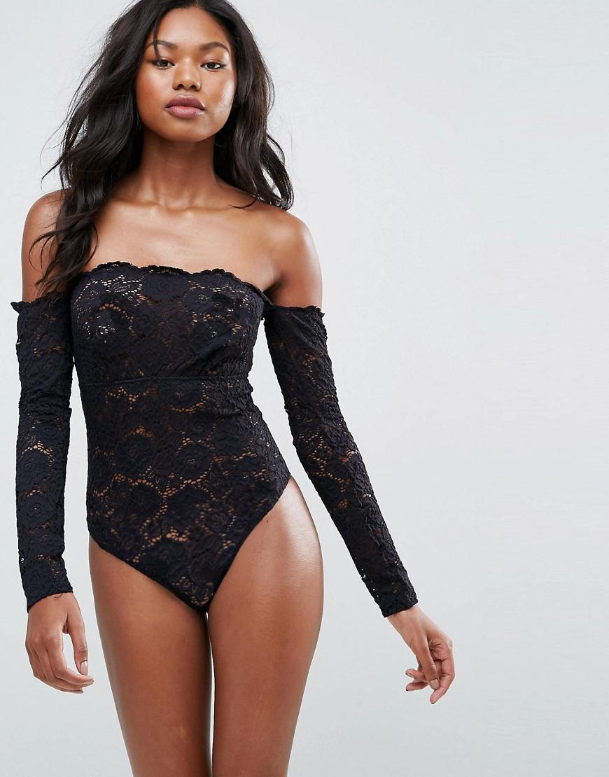 7be960b45c ASOS. Women s Black Asos Lex Premium Lace Long Sleeve Off Shoulder Bodysuit