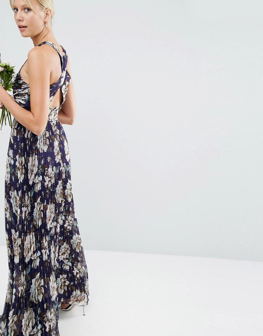 DESIGN Bridesmaid pleated maxi dress with ruched detail in vintage floral print - Multi Asos WqDJq61eYg