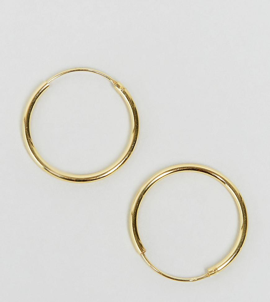 Asos Women S Metallic Gold Plated Sterling Silver 20mm Hoop Earrings