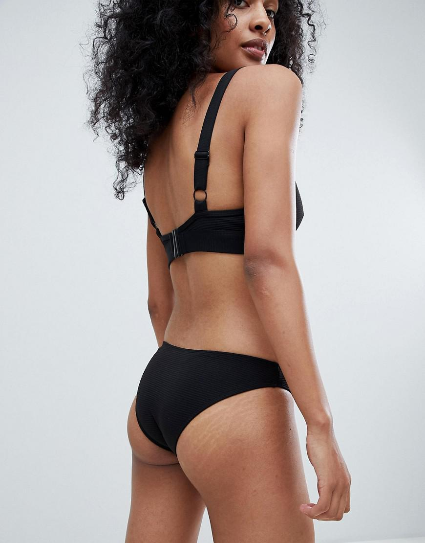 2e5cee949ed9c Lyst - Wolf   Whistle Textured Rib Bikini Bottom in Black