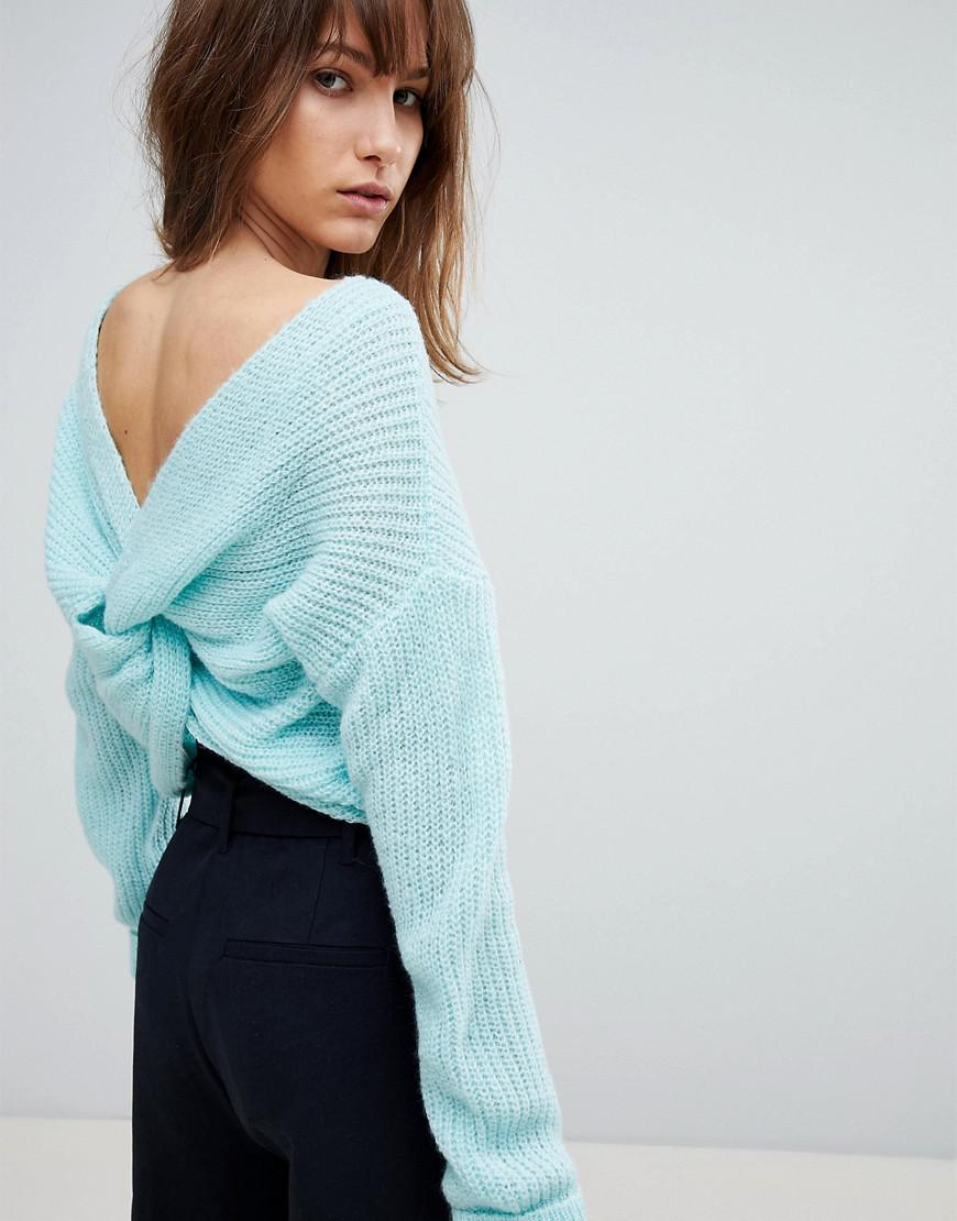 Jumper With Twist Back - Blue Asos Cheap Sale Sneakernews Buy Cheap With Mastercard Outlet Sale Perfect rp3NaoS