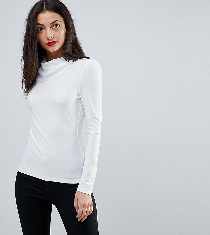 d0e1cf97f58800 ASOS - White High Drape Neck Top With Button Detail - Lyst. View fullscreen